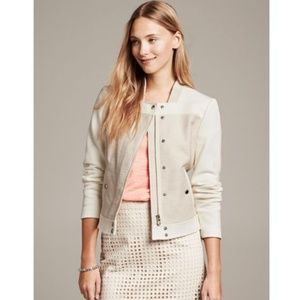 BANANA REPUBLIC White Textured Colorblock Jacket